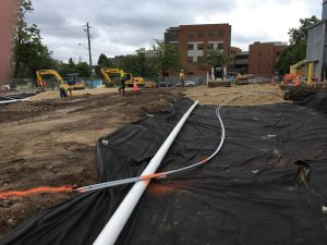 Electrical and drainage work on the north parking lot