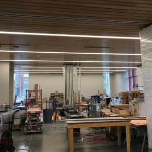 Ceiling installation in the flexible classroom