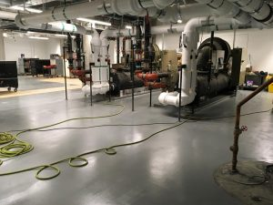 Mechanical room with newly installed flooring