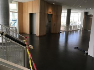 New floor in upper-level lobby overlook area