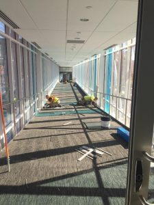 Crew members installing carpet
