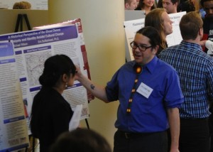 History major Michael Wilson discusses his research on the Native American ghost dancers at Zyzzogeton, Augsburg's annual celebration of student scholarship.