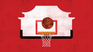 basketball, backboard, and hoop over a red background
