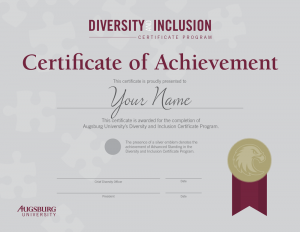 Diversity and Inclusion Certificate example