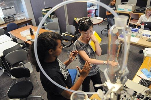 Dr. Vivian Feng, Chemistry Department Chair, mentors Yemissrach Melka on her nanoparticle research.