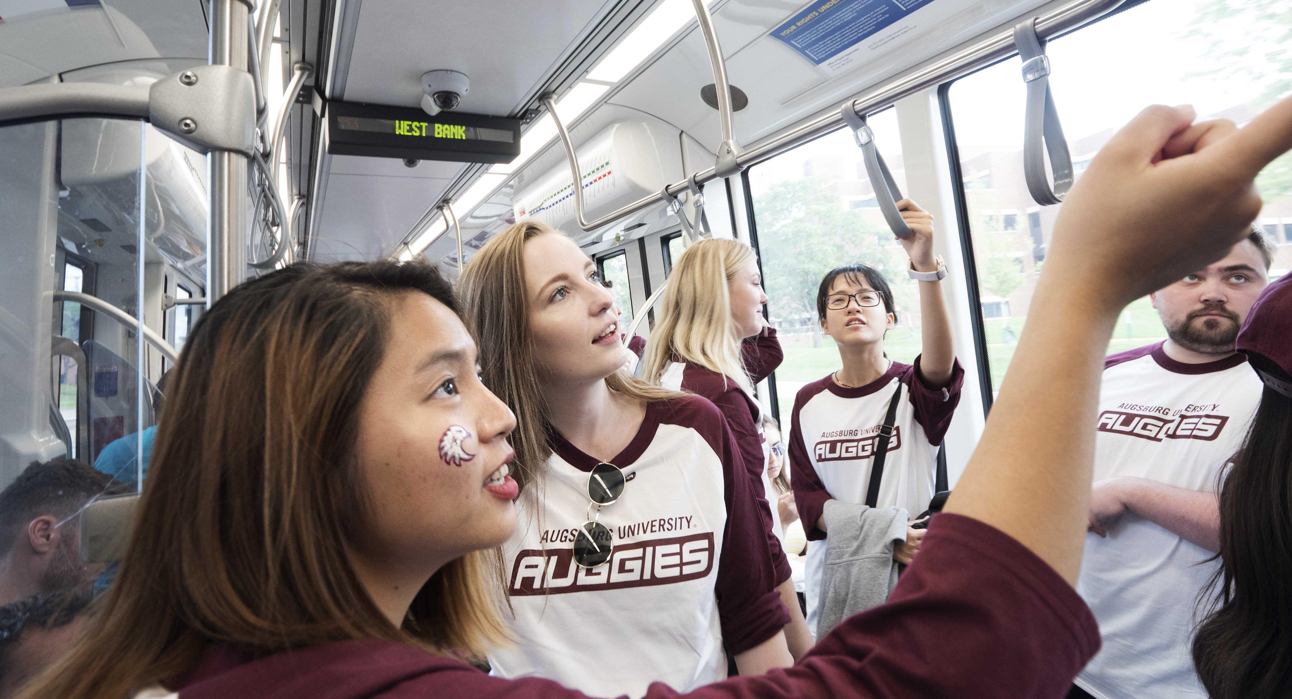 students exploring on light rail