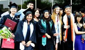 group of international students at graduation