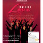 Image of the Spring Masterworks Chorale concert poster. Text/details are listed next to it