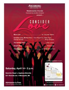 Image of the spring masterworks chorale poster. Details are listed next to it