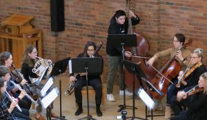 Augsburg Students and Faculty performing at the Music Listening Contest