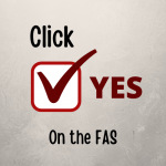 A small image stating Click Yes on the Fine Arts Scholarship
