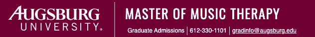 Logo for Master of Music Therapy program with phone listed 612-33-1101 and email listed gradinfo@augsburg.edu
