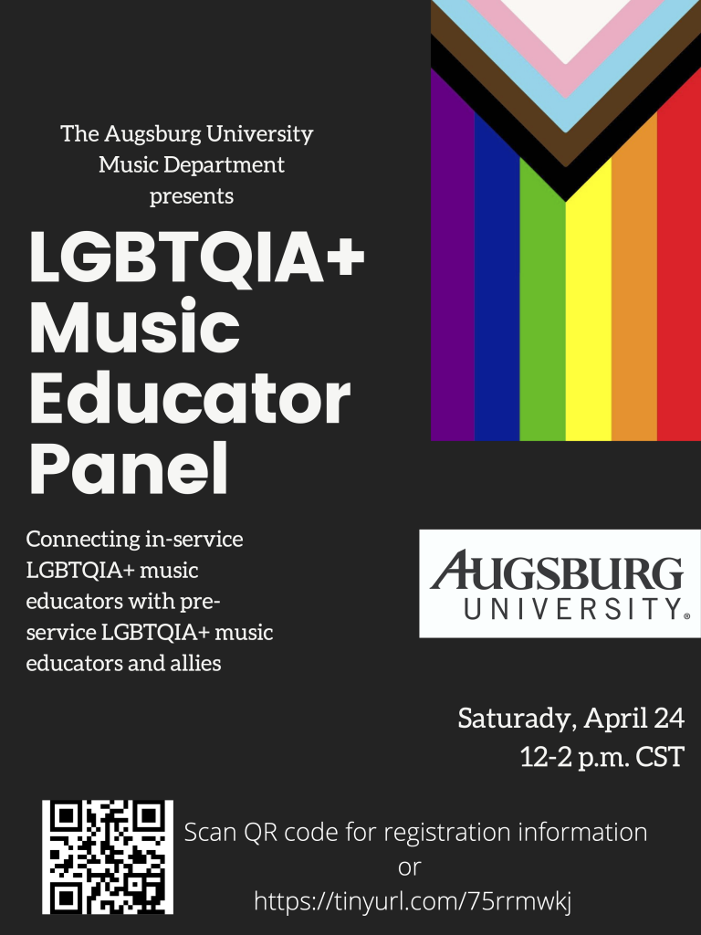 Flyer for LGBTQIA+ education panel, April 2021