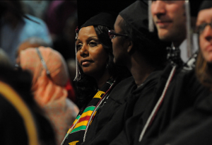 Janice Gladden '14, left, graduated with honors in communications.