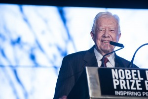 U.S. President Jimmy Carter, an honored Nobel Peace Prize Laureate, spoke at the Nobel Peace Prize Forum on March 6.