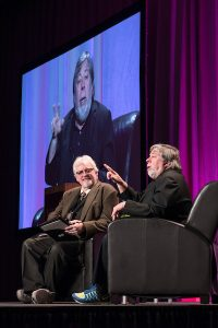 Steve Wozniak chatting on stage with Phil Adamo