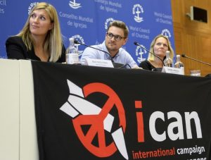 ICAN executive director Beatrice Fihnand steering committee members Daniel Hogsta and Grethe Ostern.