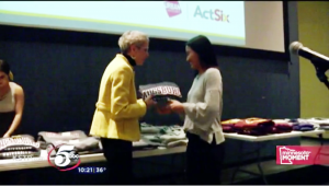 Augsburg University Dean of Students Sarah Griesse with an Act Six scholar.