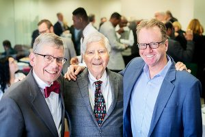 Augsburg President Paul Pribbenow (left), Urban Investors founder Peter Heegaard, and Mike Christenson celebrated the Urban Investors program Thursday at a reception at Augsburg. (Photo: Courtney Perry)