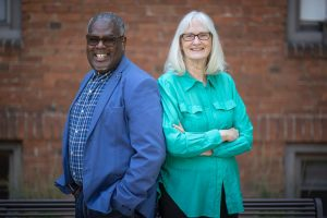 """Profs. Terrance Kwame-Ross and Margaret """"Peg"""" Finders 