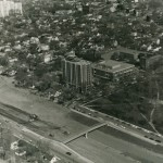 In 1967, the construction of Augsburg College's Christensen Center and Urness Tower buildings coincided with Interstate 94 development occurring at the campus periphery. The freeway changed the College's southern border, creating a fi nite boundary between its Cedar-Riverside home and the Seward neighborhood, although pedestrian bridges were in place prior to freeway completion.