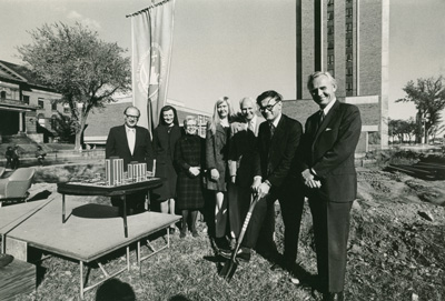 On October 8, 1972, Augsburg held groundbreaking and site dedication ceremonies for a new student apartment tower that later was named Mortensen Hall after Gerda Mortensen, long-time Dean of Women at the College. In addition to housing Auggies, the tower initially was intended to serve students from St. Mary's Junior College and the Fairview Hospital nursing program, as well as St. Olaf College nursing students who trained in Minneapolis hospitals.