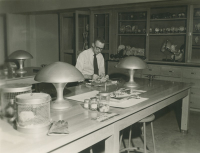 Built during the 1948-49 academic year, Augsburg's Science Hall in its early years served several functions, including as the campus entrance; the home of student publications, administrative offi ces, and the economics department; and—naturally—the site of lecture rooms and science laboratories, as seen here.