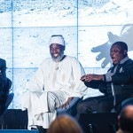 Rev. Mark Hanson '68, Imam Muhammad Ashafa, and Pastor James Movel Wuye [L to R] share a laugh during their panel discussion at the Forum.
