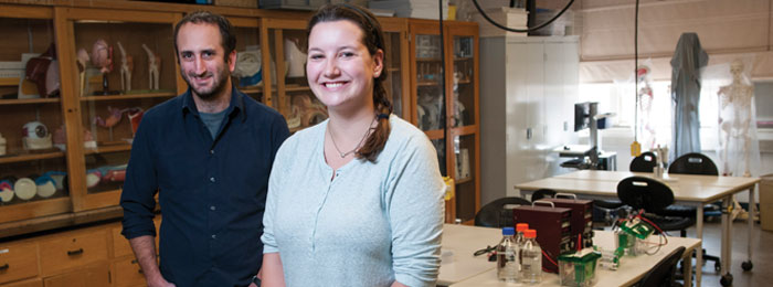 Anika Clark and Kevin Potts in an Augsburg lab