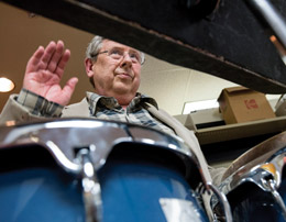 Bob Stacke '71, retired associate professor of music, is known and respected for his cross-cultural percussion performances. Stacke's deep musical connections were critical in forging the partnership between the College, the Cedar Cultural Center, and visiting artists.