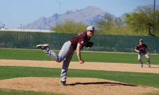 Jordan Brandt '17 throws a pitch on the baseball team's 2016 spring break trip to Arizona. The team raised more than $17,000 on Give to the Max Day 2015.