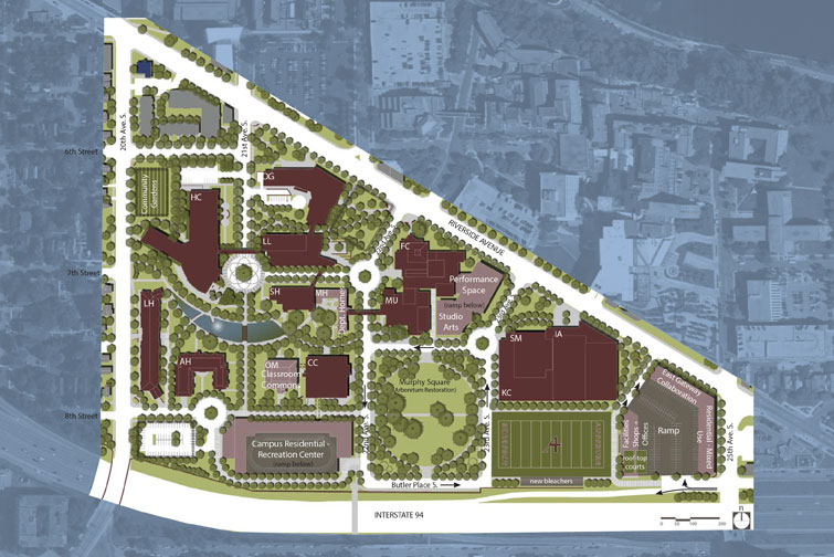 A map of the 20-year campus master plan vision