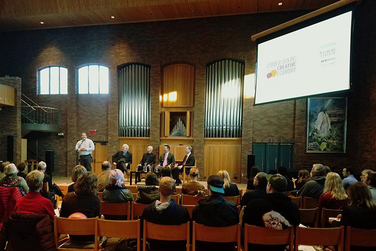 Speaker series attendees gather in Hoversten Chapel