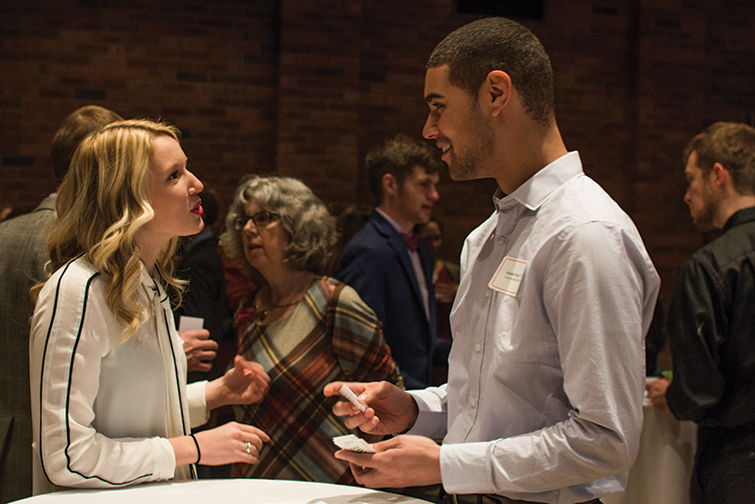 Auggies chat at the Alumni Networking Experience