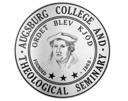 The seal of Augsburg College and Theology Seminary featuring Martin Luther.