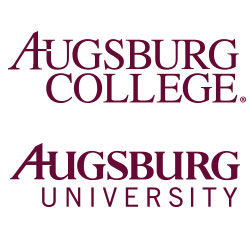 A side by side comparison of the Augsburg College logo and the new Augsburg University logo.