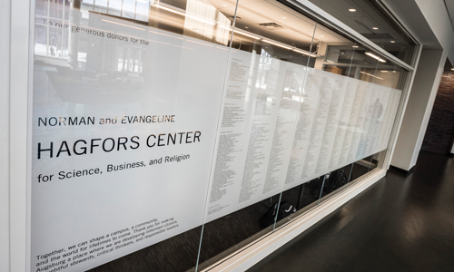 Wall with a list of all the Donors that contributed to the Hagfors Center building