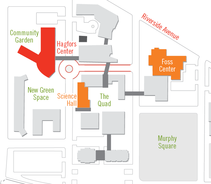 Map showing Hagfors Center location on campus