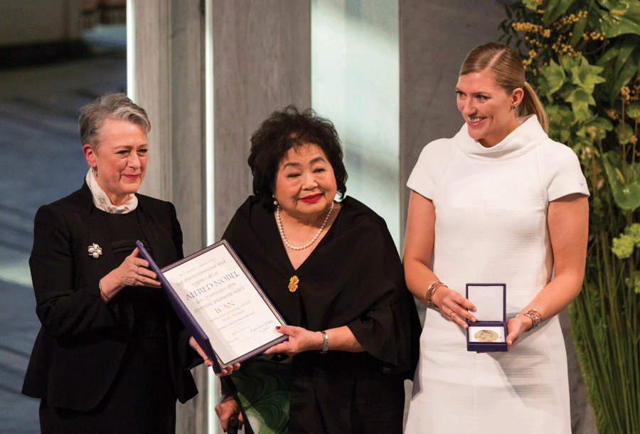 The International Campaign to Abolish Nuclear Weapons receiving their Nobel Peace Prize