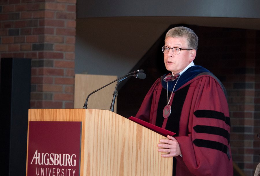 Augsburg President Paul C. Pribbenow speaks to the community