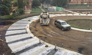 Construction of the round about in front of the Hagfors Center