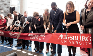 Ribbon Cutting at the grand opening of the Hagfors Center