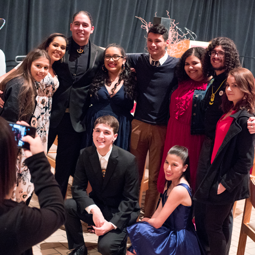 Students gather for a group photo at the American Indian Services 40th Anniversary Celebration