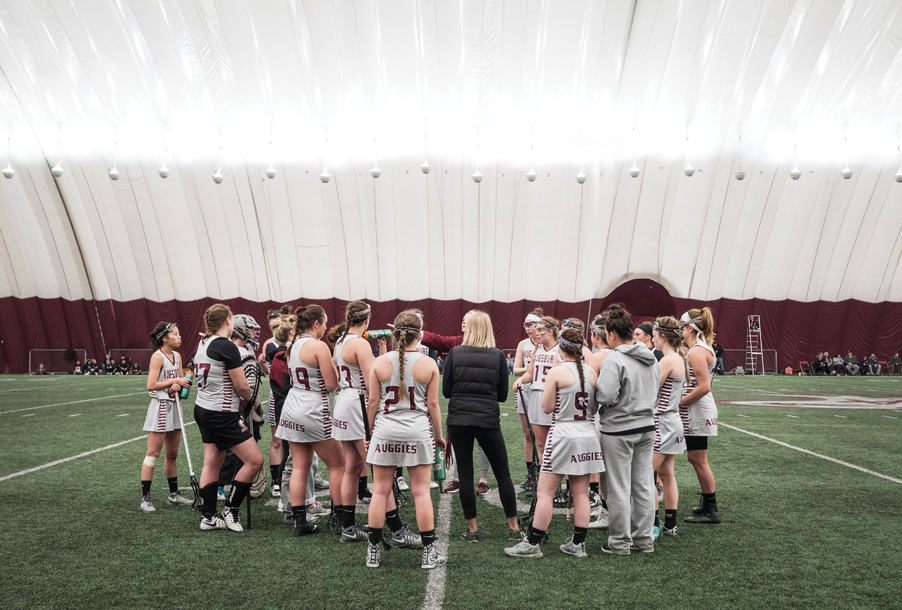Women's Lacrosse team wraps up a game in the dome