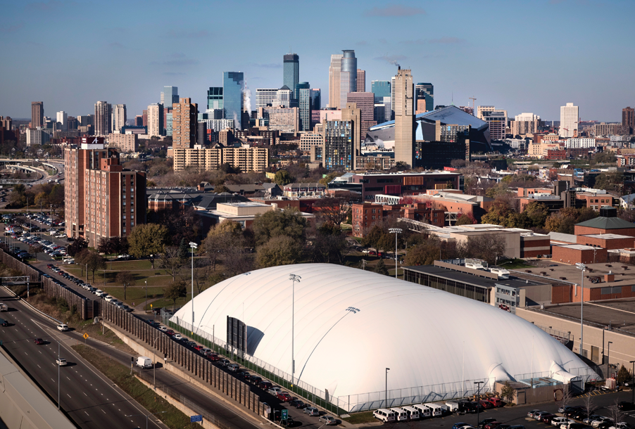 Sky view of the Minneapolis skyline and the Augsburg dome