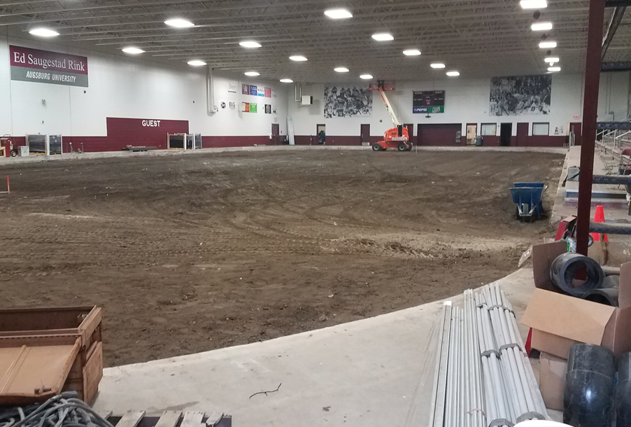 The Augsburg Ice Rink stripped down to dirt
