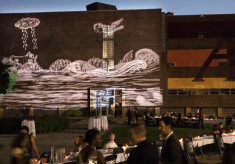 Art projected on the side of a building