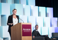 Beatrice Fihn speaking at the Forum