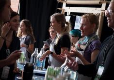 Guests tasting water at the Water Bar