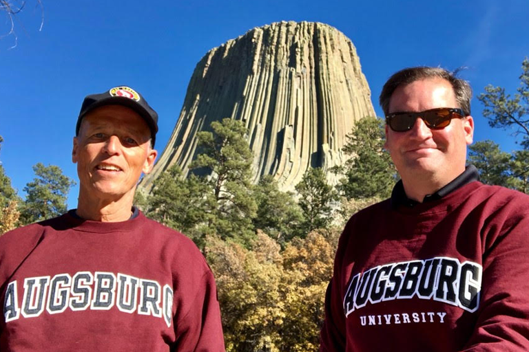 Dave Ogren and Eric Galler in front of Devils Tower, Wyoming,